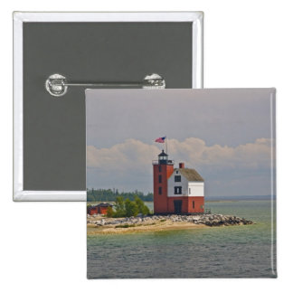 A view of Round Island Light Station. 2 Inch Square Button