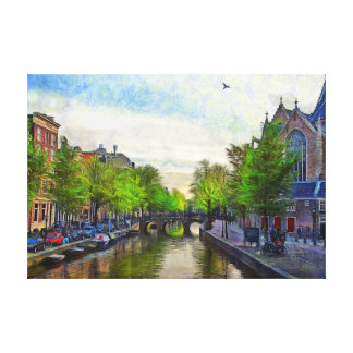 A view of the canal near Oudekerk. Canvas Print