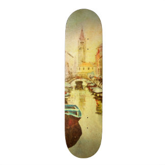 A View Of The Canal With Boats And Buildings Skate Board Decks