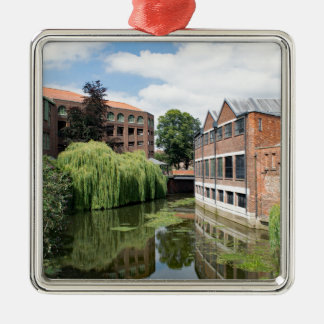 A view of the River Foss in York Silver-Colored Square Ornament