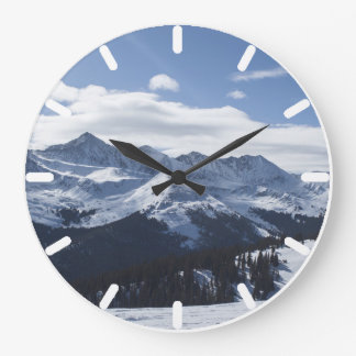 A View of the Snowy Alpine Mountains. Large Clock