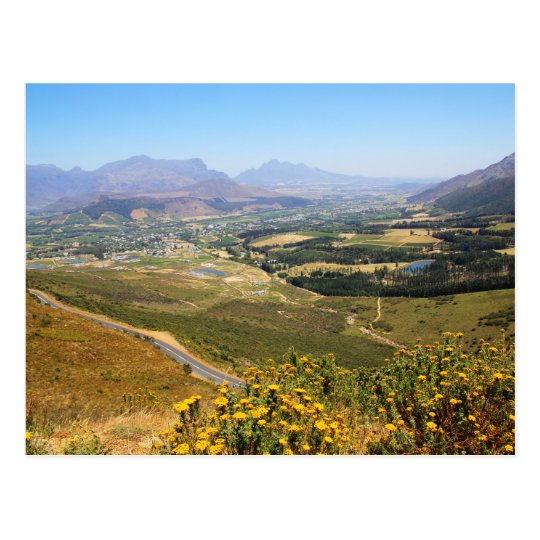 A view over the winelands of Franschhoek Postcard