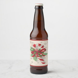 A Vintage Merry Christmas Candy Cane Beer Bottle Label