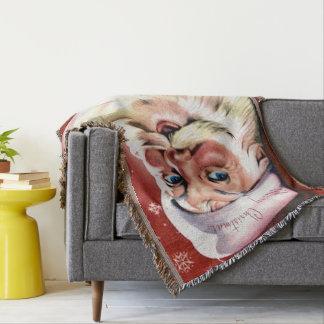 A Vintage Santa Throw Blanket