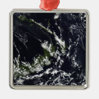 A volcanic plume from the Rabaul caldera Silver-Colored Square Ornament