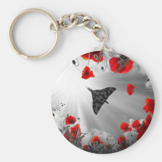 A Vulcan Poppy red Basic Round Button Keychain