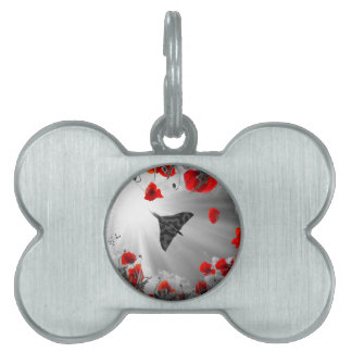 A Vulcan Poppy red Pet Name Tag
