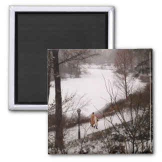 A Walk Around The Pond On A Winter Day Square Magnet