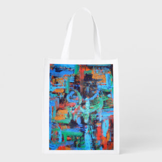 A Walk In The Forest-Abstract Art Brushstrokes Reusable Grocery Bag