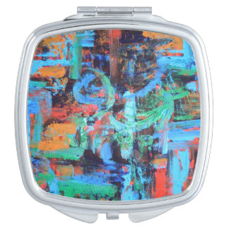 A Walk In The Forest - Abstract Art Handpainted Makeup Mirror