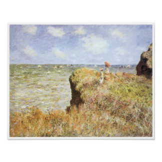 A Walk on the Cliffs at Pourville, 1882 Poster