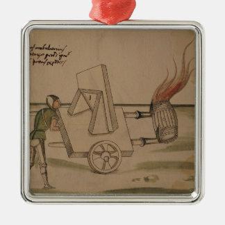 A War Machine, illustration from 'De Machinis' Silver-Colored Square Ornament