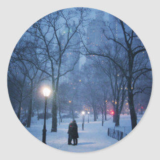 A Warm Kiss On A Cold Night Classic Round Sticker