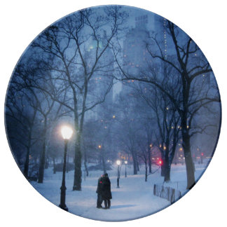 A Warm Kiss On A Cold Night Porcelain Plate