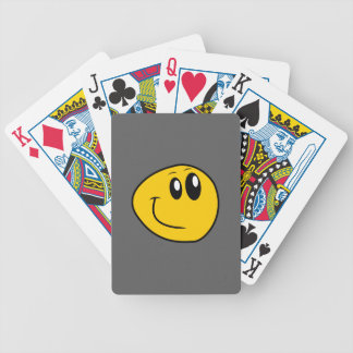 A Warped Yellow Happy Smiley Bicycle Playing Cards