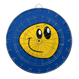 A Warped Yellow Happy Smiley Dartboard