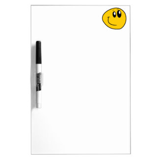 A Warped Yellow Happy Smiley Dry Erase Board