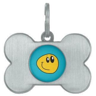 A Warped Yellow Happy Smiley Pet Tag