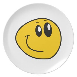 A Warped Yellow Happy Smiley Plate