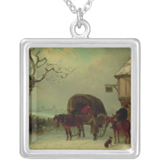 A Wayside Rest - Stopping at the Inn Silver Plated Necklace
