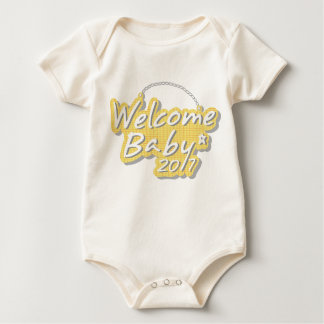 A welcome baby design baby bodysuit