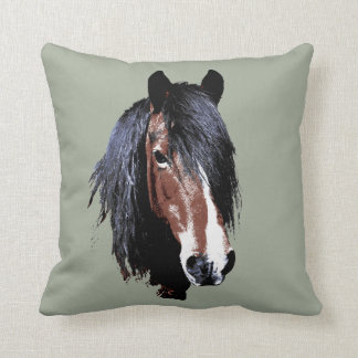 A welsh bay mare throw pillow