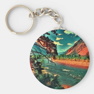 A Western Canada River in the Mountains Basic Round Button Keychain