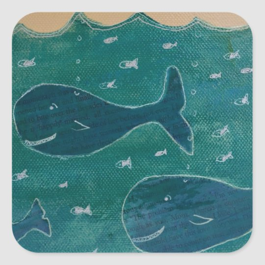 A Whale of a Tale Painting/ Collage in Blue Square Sticker