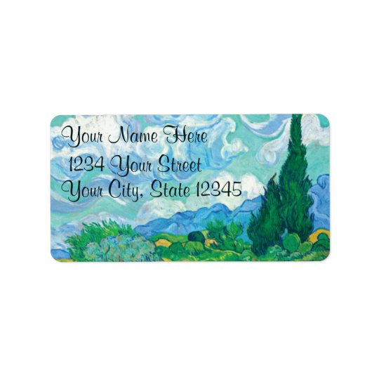 A Wheatfield with Cypresses Address Labels