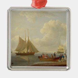 A Wherry Taking Passengers out to Two Anchored Pac Silver-Colored Square Ornament