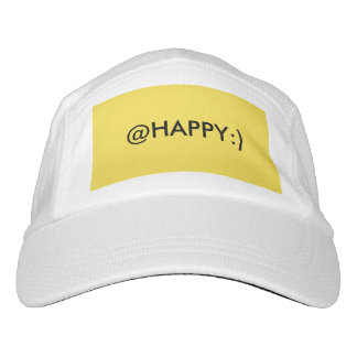 A white and yellow @HAPPY:) knit hat