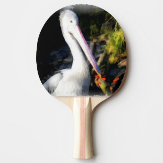 A white bird and its big beak Ping-Pong paddle