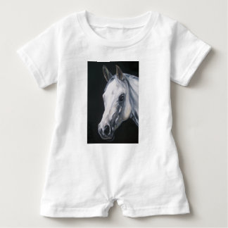 A White Horse Baby Romper