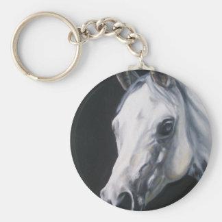 A White Horse Basic Round Button Keychain