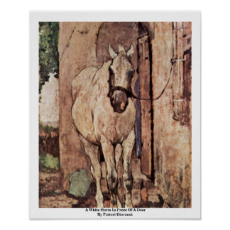 A White Horse In Front Of A Door Poster