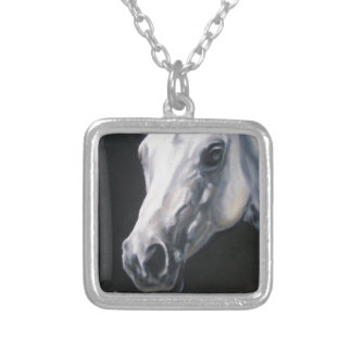 A White Horse Silver Plated Necklace