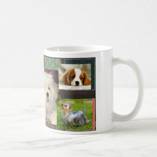 A white mug with three dogs