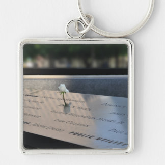 A white rose on Ground Zero Memorial Keychain
