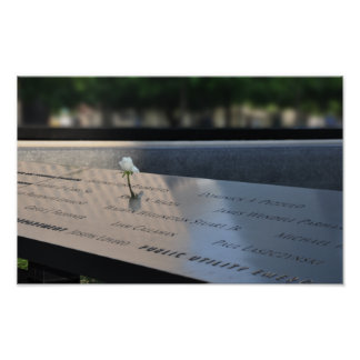 A white rose on Ground Zero Memorial Poster