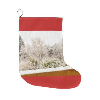 a white winter landscape on Christmas Stocking