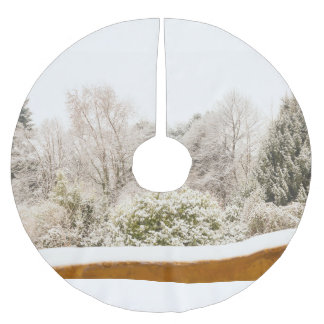 a white winter landscape onTree Skirt Brushed Polyester Tree Skirt