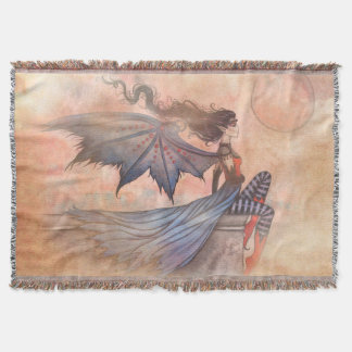 A Wicked Wind Gothic Vampire Fairy Art Throw Blanket