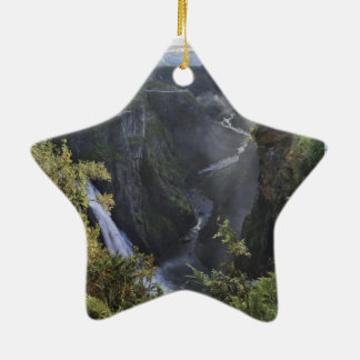A wide evening view - Hordaland, Norway Ceramic Star Ornament