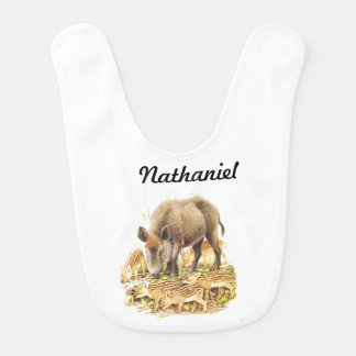 A Wild Boar and Babies Bib