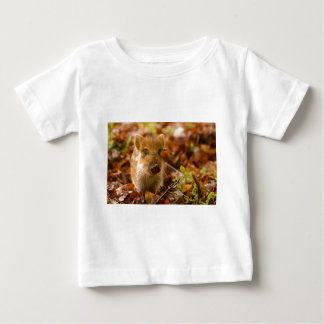 A Wild Boar Piglet Sus Scrofa in the Autumn Leaves Baby T-Shirt