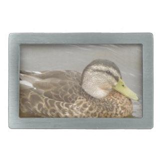 A Wild Duck Swimming Rectangular Belt Buckle