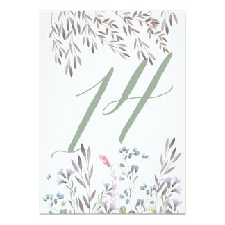 A Wildflower Wedding Table No. 14 Double Sided Card