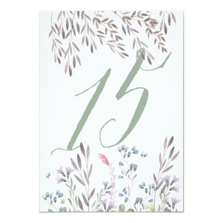 A Wildflower Wedding Table No. 15 Double Sided Card