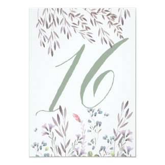 A Wildflower Wedding Table No. 16 Double Sided Card