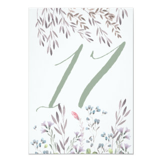 A Wildflower Wedding Table No. 17 Double Sided Card